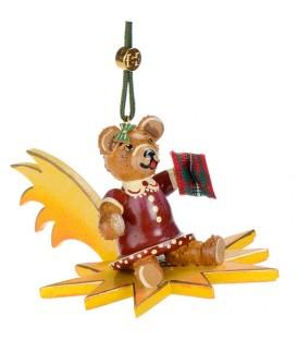 Décoration sapin de Noël vintage, ourson sur une étoile