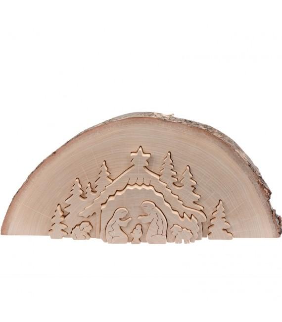 Crèche de Noël en relief, taillée dans un rondin de bois, 27 cm