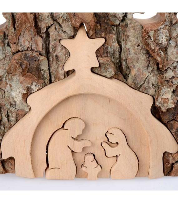 Crèche de Noël taillée dans une écorce de bois, motif étable, 20 cm