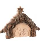 Crèche de Noël 13 cm, taillée dans une écorce de bois, motif étable