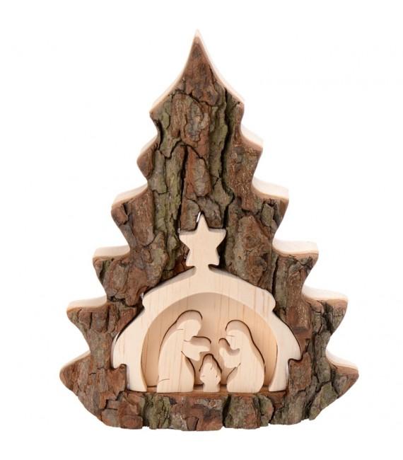 Crèche de Noël 16 cm, taillée dans une écorce de bois en forme de sapin