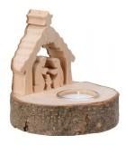 Petite crèche de Noël en bois avec bougeoir