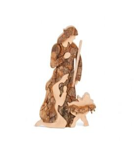Marie, Joseph et enfant Jésus en écorce de bois, 12 cm