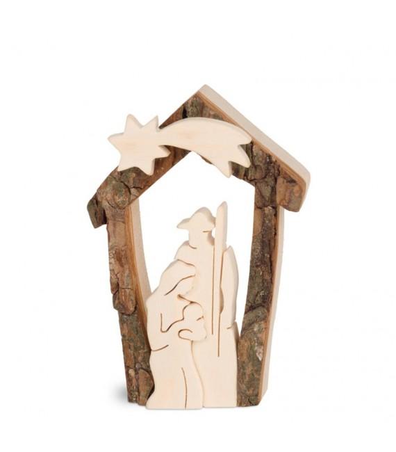 Petite crèche de Noël en écorce 7,5 cm, avec nativité en bois d'érable