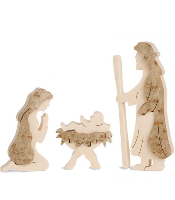 Marie, Joseph et enfant Jésus en écorce de bois, 10 cm