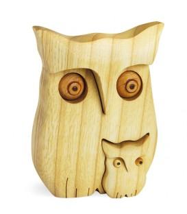 Chouette en bois poli avec enfant, 9 cm