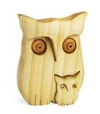 Chouette en bois poli avec enfant,9 cm