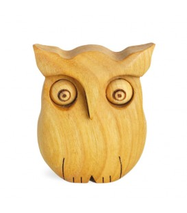 Chouette en bois poli, 6,5 cm