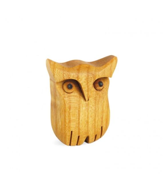 Chouette en bois poli, 3,5 cm