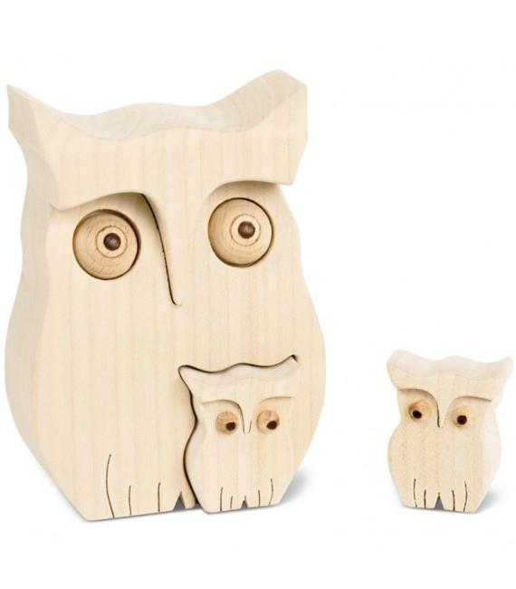 Chouette en bois avec deux bébés chouettes, 10 cm