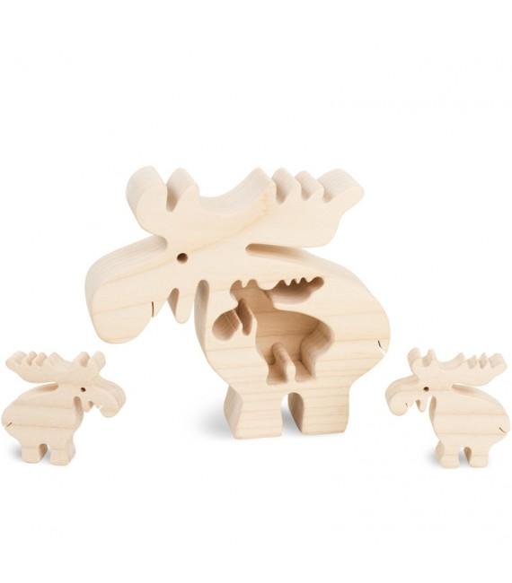 Elan en bois avec deux enfants, 10 cm