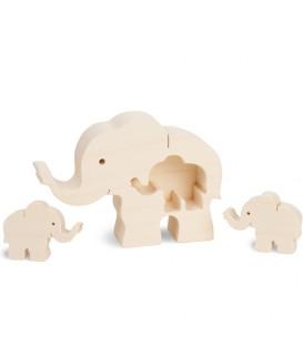Eléphant en bois avec deux bébés éléphants, 8,5 cm