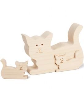 Chat en bois avec deux chatons, 8,5 cm