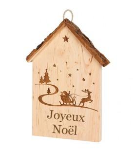 """Plaque de porte en bois à suspendre """"Joyeux Noël"""""""