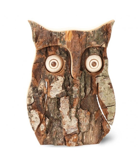 Hibou en bois d'écorce, 10 cm