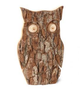 Hibou en bois d'écorce, 16 cm