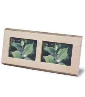Double cadre photo en bois, 10 x 15 cm