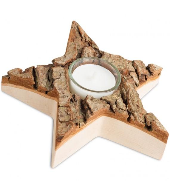 Bougeoir en bois étoile en écorce, 15 cm