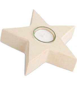 Bougeoir de table étoile, en bois d'érable blanc, 15 cm