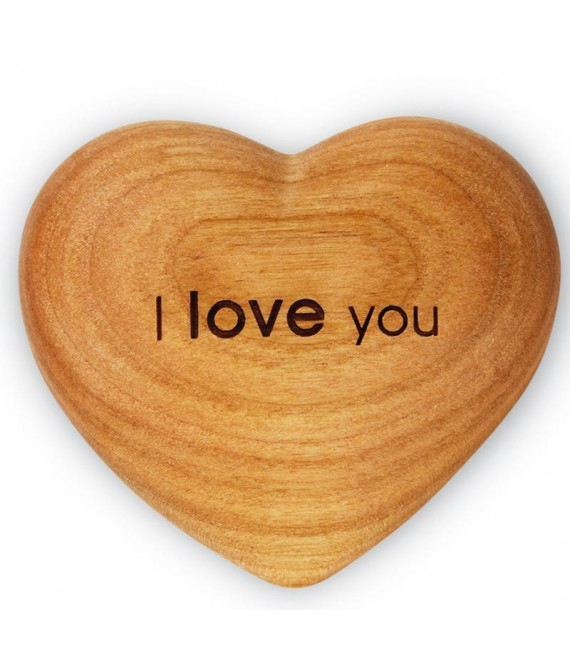Coeur en bois, I Love You, 6 cm