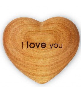 Coeur en bois, I Love You, 6 cm