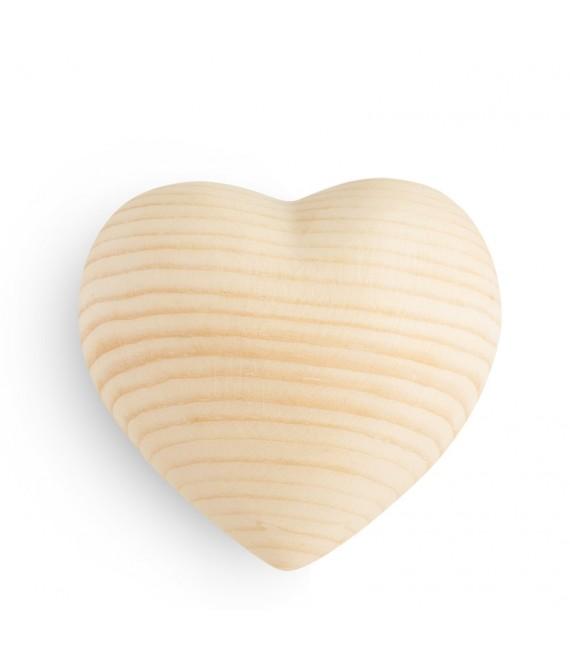 Coeur en bois de sapin, 6 cm