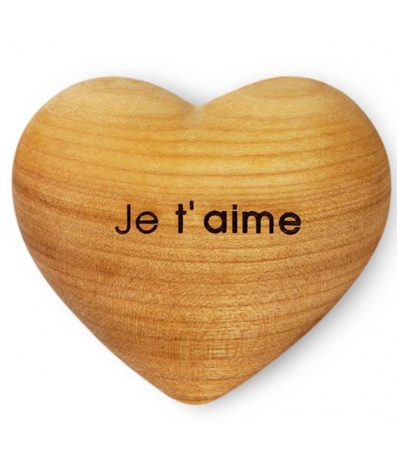 Coeur en bois, je t'aime, 6 cm