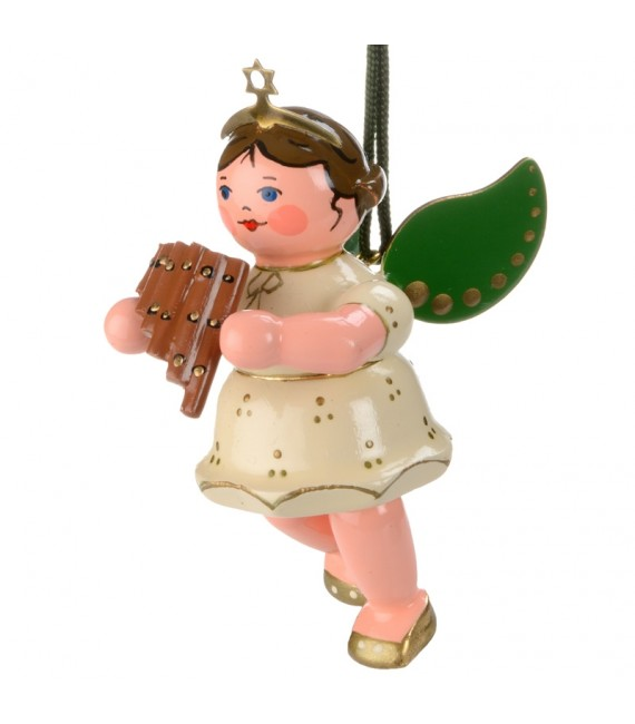 Ange de Noël pour sapin et flute de pan