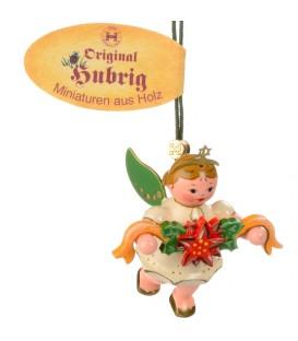 Déco sapin de Noël, ange et couronne de fleurs