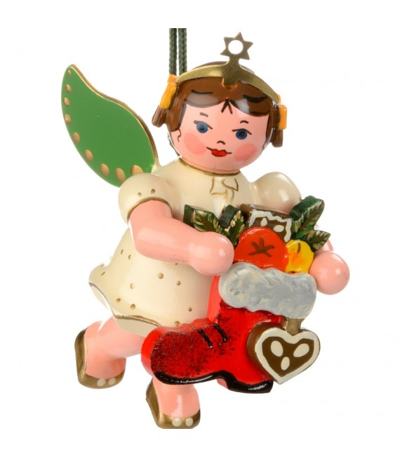 Noël d'antan, ange pour sapin et botte