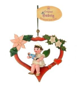 Décoration sapin de Noël, ange dans un coeur rouge