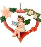 Noël d'antan, ange pour sapin dans un coeur rouge