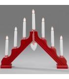 Chandelier de Noël en bois à bougie électrique avec déco Vichy, rouge