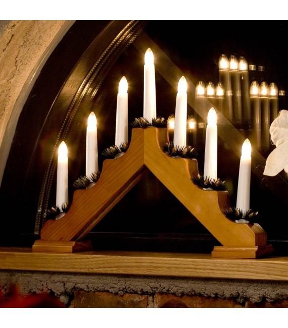 Chandelier de Noël en bois à bougie électrique, chêne