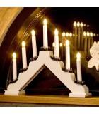 Chandelier de Noël en bois à bougie électrique, blanc