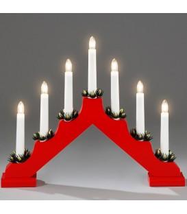 Chandelier de Noël rouge à 7 branches