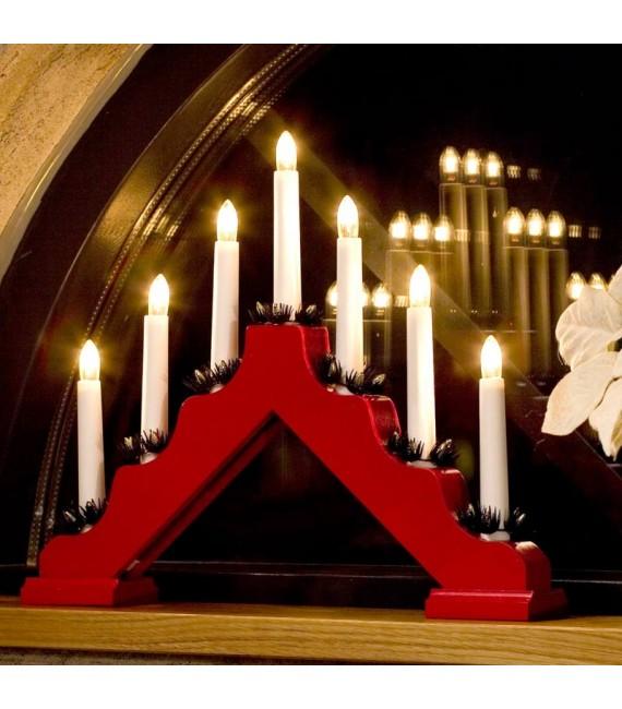 Chandelier de Noël en bois à bougie électrique, rouge