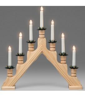 Chandelier 7 branches électrique en bois naturel
