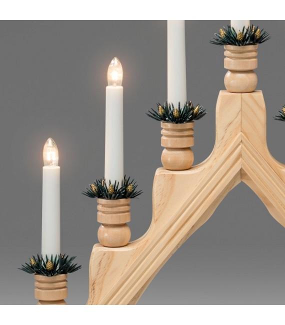 Chandelier à bougie électrique avec déco Noël, naturel
