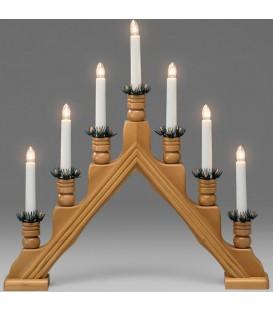 Chandelier 7 bougies électriques en bois de chêne