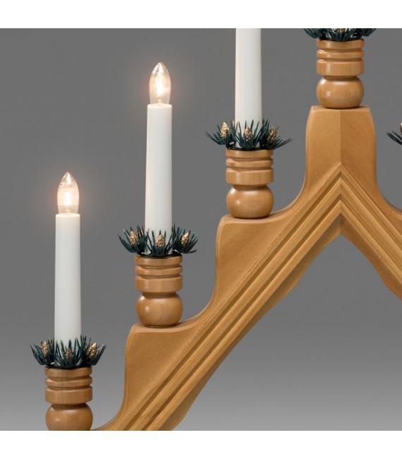 Chandelier à bougie électrique avec déco Noël, chêne