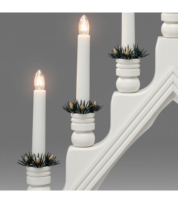 Chandelier à bougie électrique avec déco Noël, blanc