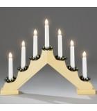 Chandelier de Noël en bois à bougie électrique, naturel