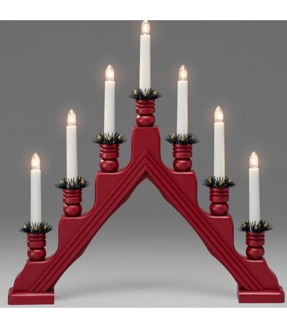 Chandelier à bougie électrique avec déco Noël, rouge