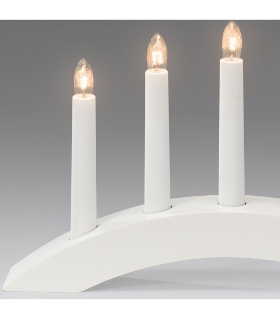 Chandelier scandinave en bois à bougie électrique, blanc
