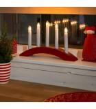 Chandelier scandinave en bois à bougie électrique, rouge