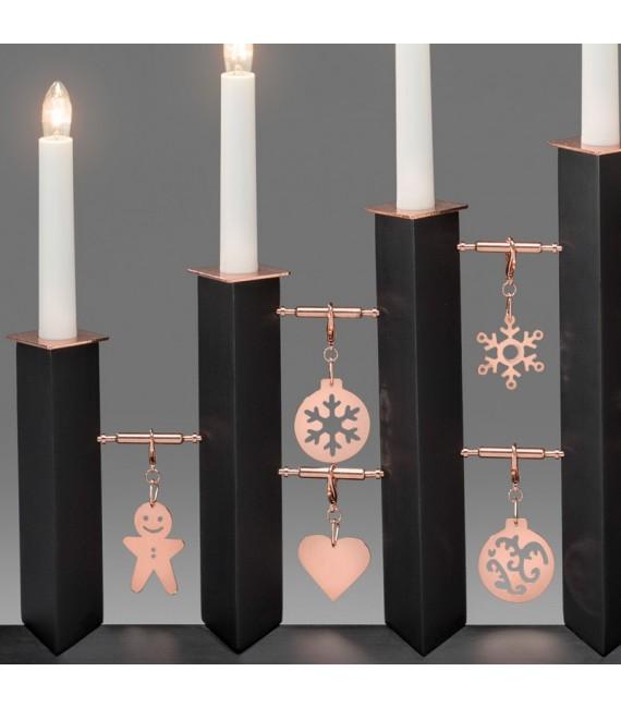 Chandelier design en métal, laqué noir avec décorations cuivrées