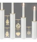 Chandelier design en métal, laqué blanc avec décorations laiton