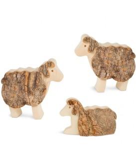 Animaux en bois pour crèche de Noël, trois moutons 5 cm