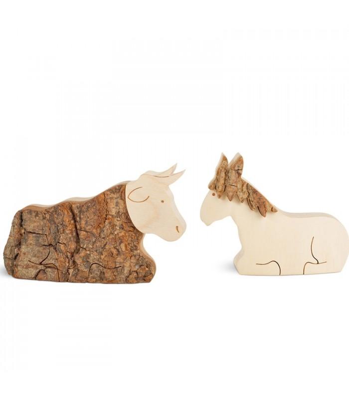 L'âne et boeuf, animaux en bois pour crèche de Noël, 6 cm
